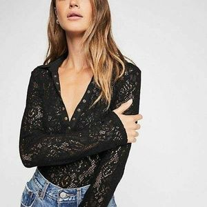 new FREE PEOPLE XSMALL Cozy Cadet Henley sweater C